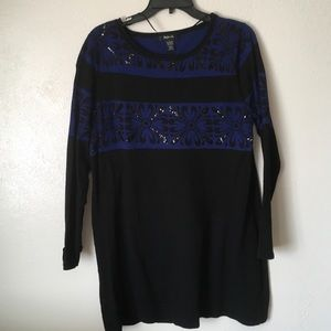 Style & co blue black sequin sweater size large